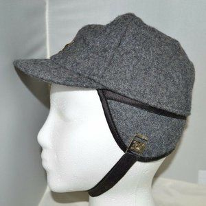 Vintage Grey Gray Wool Bomber Hat Ear Chin Cover